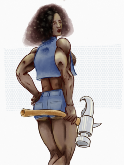 strong black woman with hammer